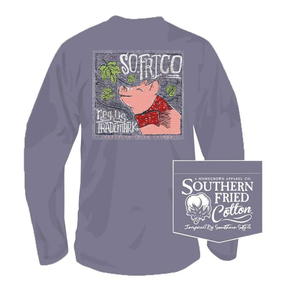 Southern Fried Cotton Leaves Falling Autumn Calling Long Sleeve Tee in Plum