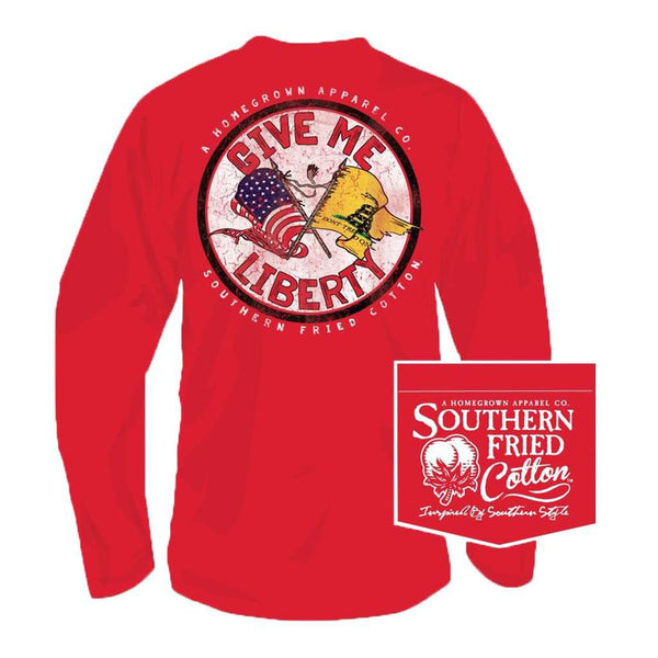 Southern Fried Cotton Give Me Liberty Long Sleeve Tee in Sunwashed Red