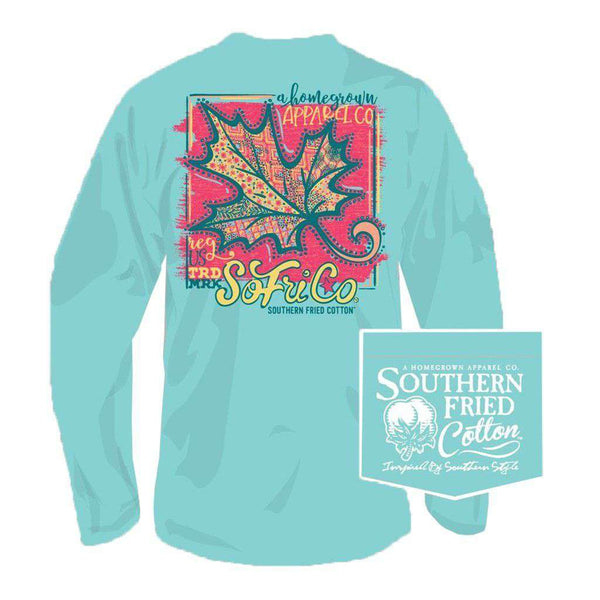 Southern Fried Cotton Big Ole Leaf Long Sleeve Tee in Mason Jar