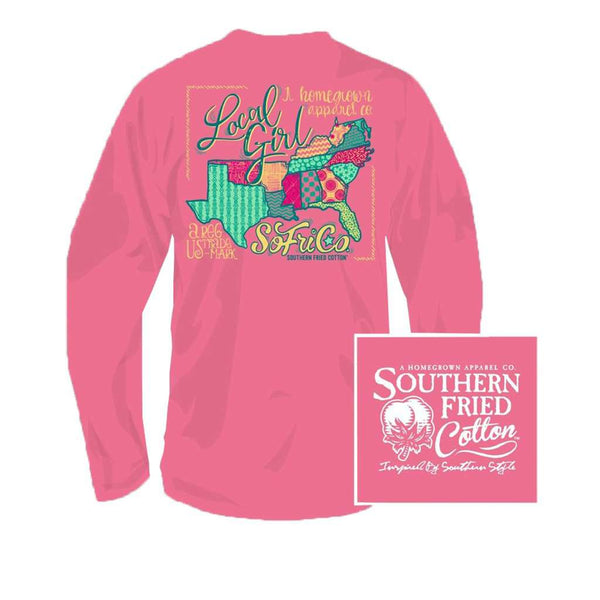 Southern Fried Cotton YOUTH Local Girl Long Sleeve Tee in Pink Jam