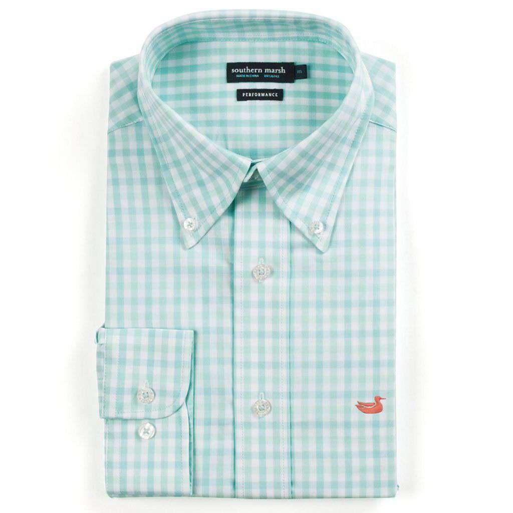 Southern Marsh Cameron Gingham Performance Button Button Down in Antigua Blue & White