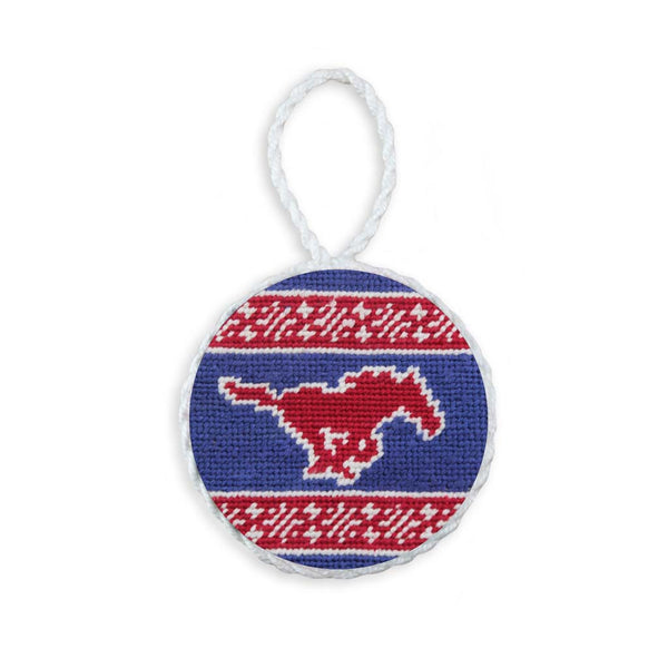 SMU Fairisle Needlepoint Ornament by Smathers & Branson