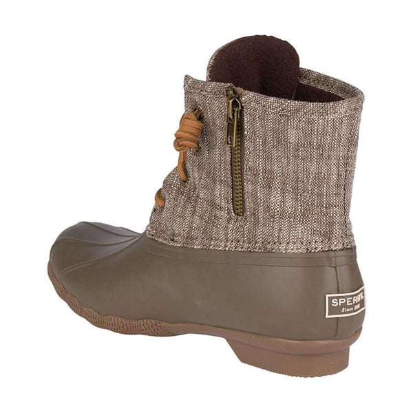 SPerry Women's Saltwater Heavy Linen Duck Boot in Olive