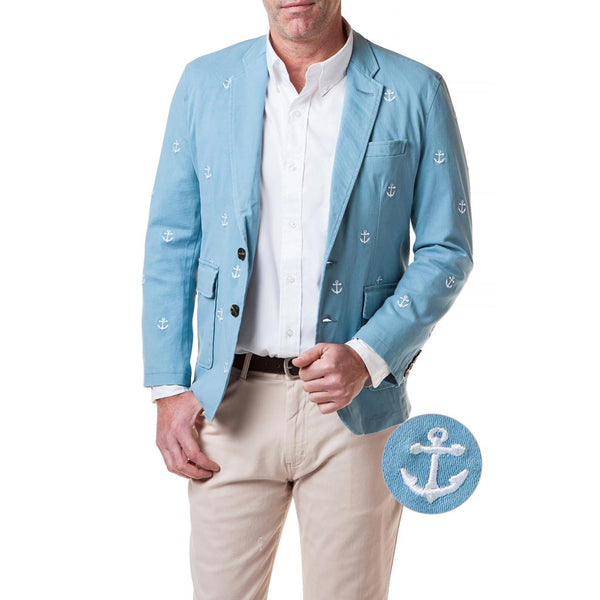 Spinnaker Blazer With Embroidered White Anchor in Slate by Castaway Clothing