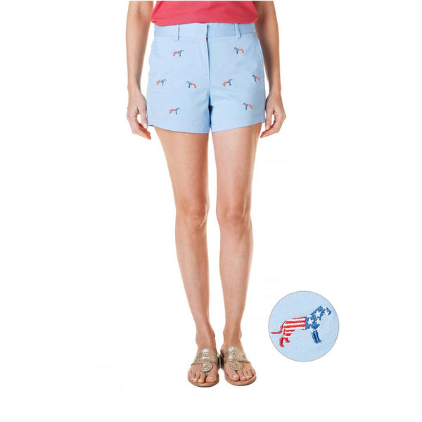 Patriotic Dog Stretch Twill Sailing Short in Liberty by Castaway Clothing
