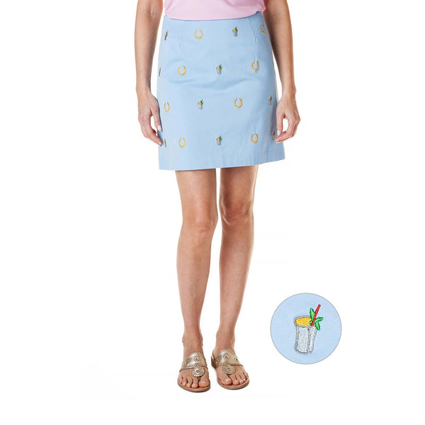 Stretch Twill Ali Skirt with Embroidered Lucky Mint Juleps in Liberty Blue by Castaway Clothing