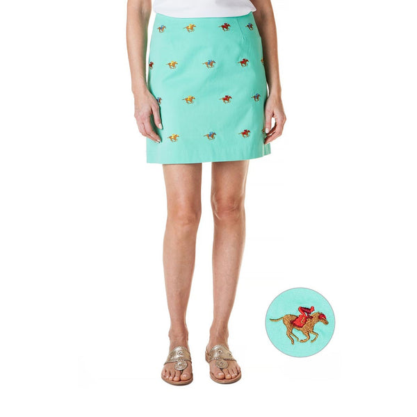 Stretch Twill Ali Skirt with Embroidered Racing Horses in Palm Green by Castaway Clothing
