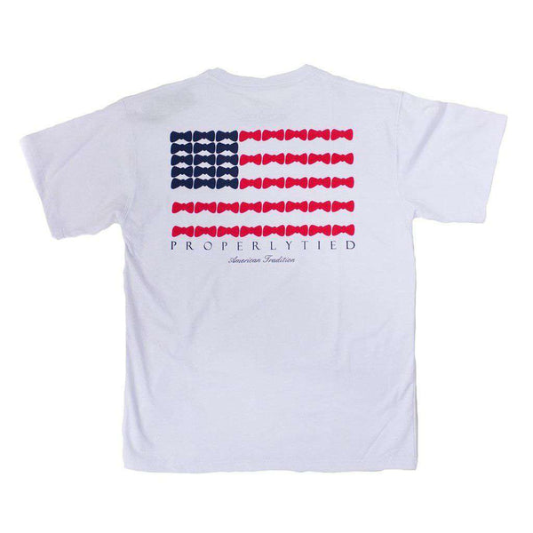 Properly Tied Boy's Short Sleeve Bow Tie Flag Tee in White