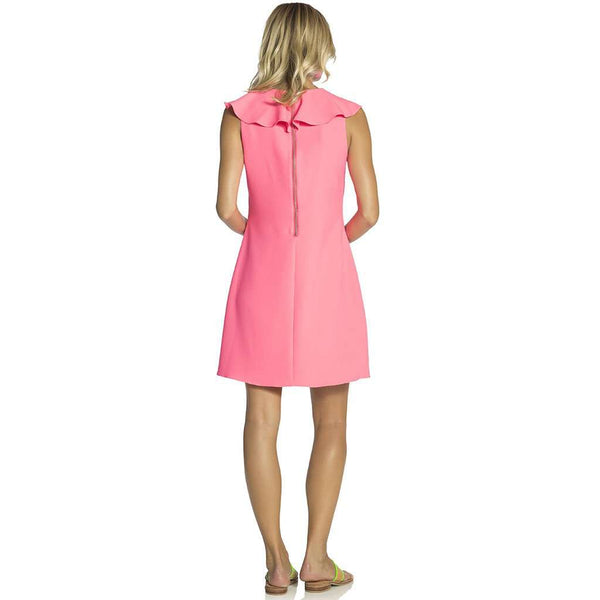Sail to Sable Poly Crepe Ruffle Neck Shift Dress in Hibiscus