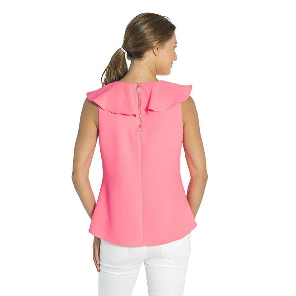 Sail to Sable Poly Crepe Ruffle Neck Top in Hibiscus