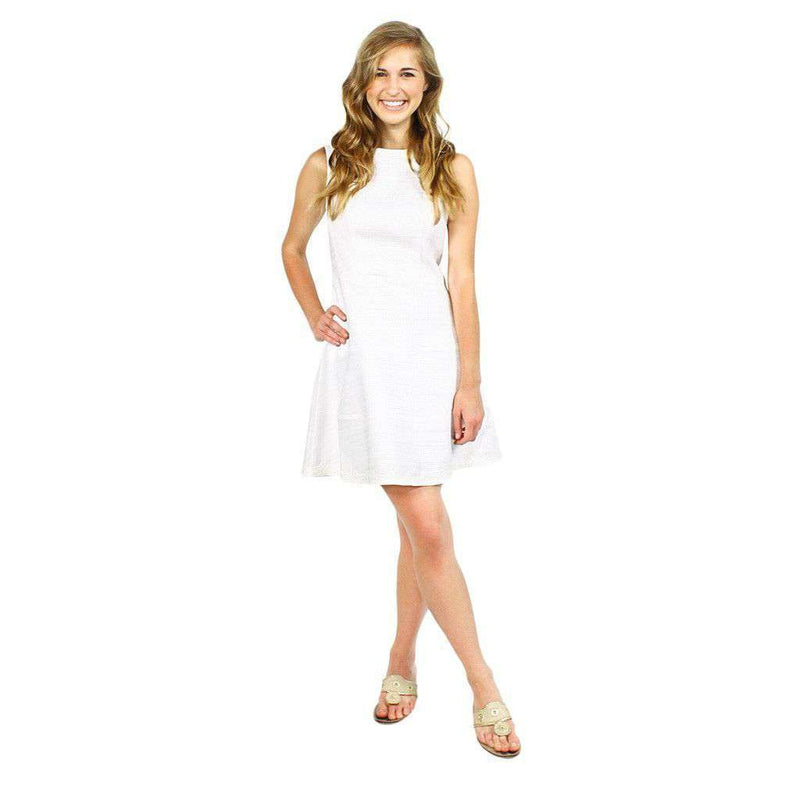 Basket Weave Drop Fit & Flare Dress in White with Lace Trim by Sail to Sable  - 3