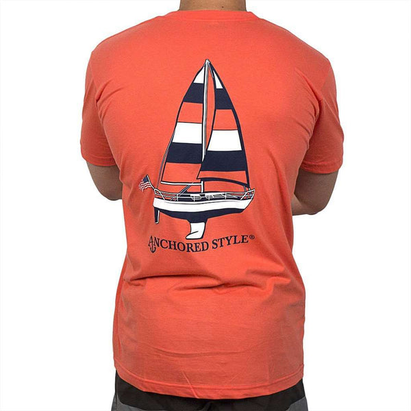 Sailboat Tee Shirt in Coral by Anchored Style  - 1