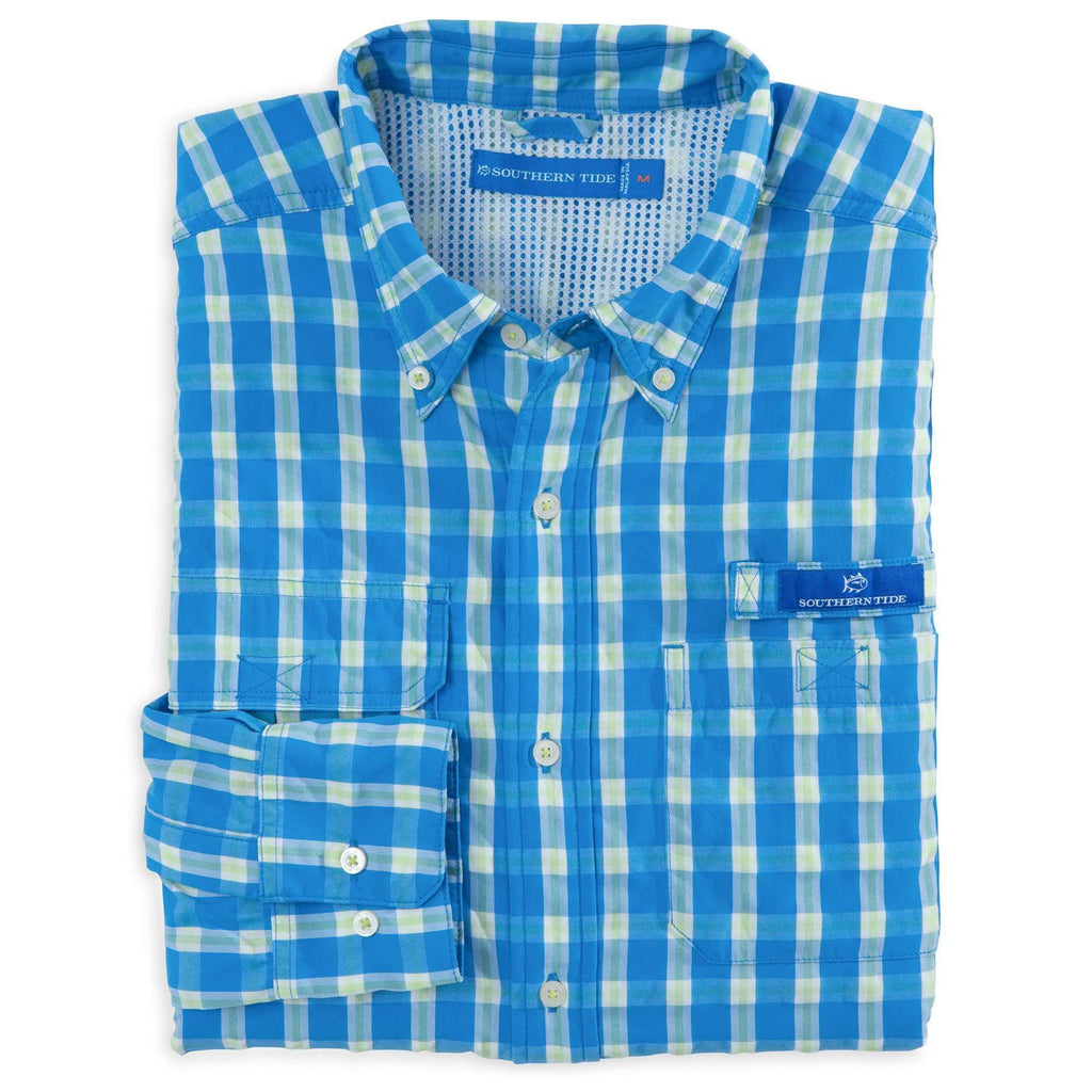 Sailfish Plaid Fishing Shirt in Blue Stream by Southern Tide  - 1
