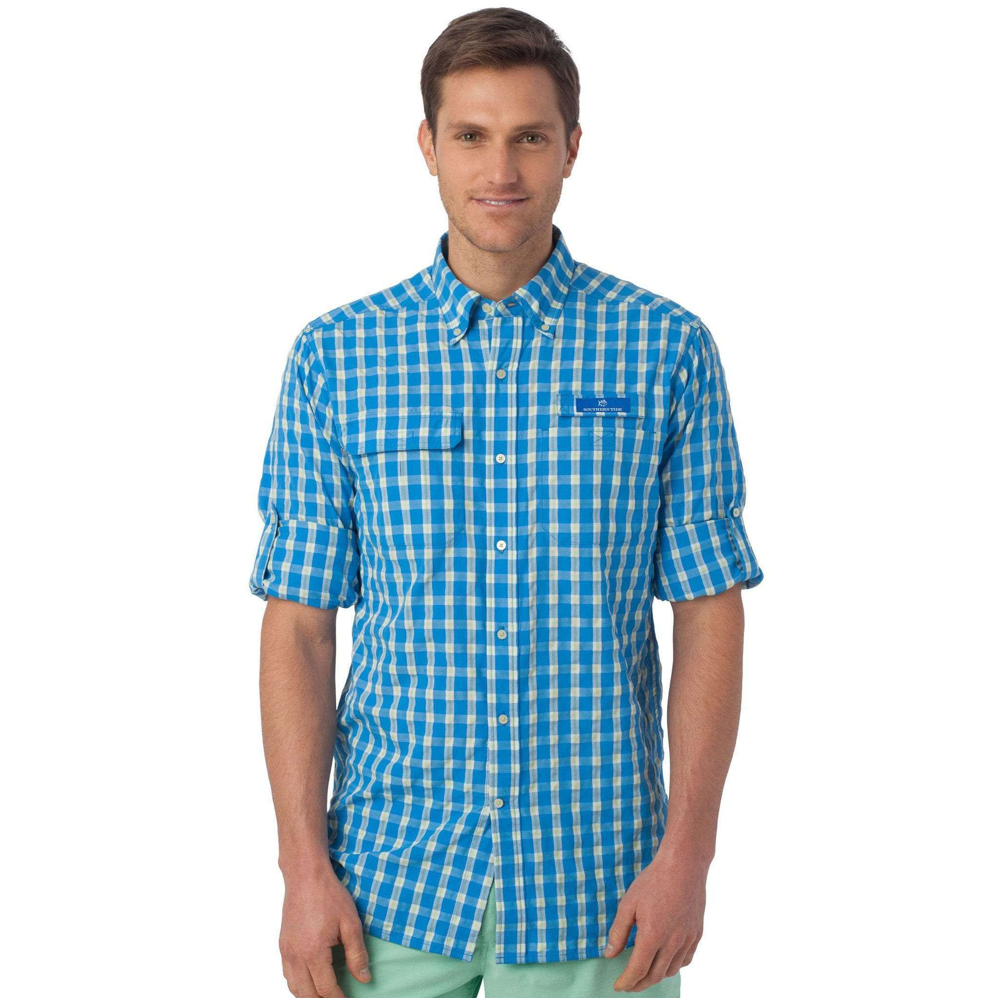 Sailfish Plaid Fishing Shirt in Blue Stream by Southern Tide  - 3