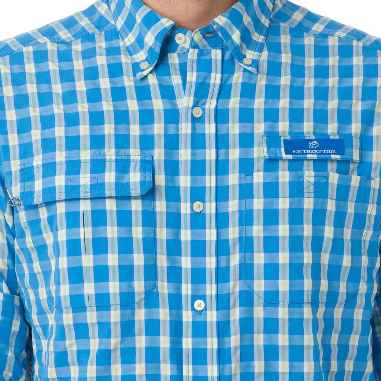 Sailfish Plaid Fishing Shirt in Blue Stream by Southern Tide  - 6
