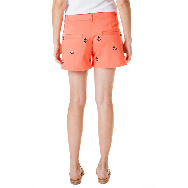 Stretch Twill Sailing Short with Embroidered Anchor in Coral by Castaway Clothing