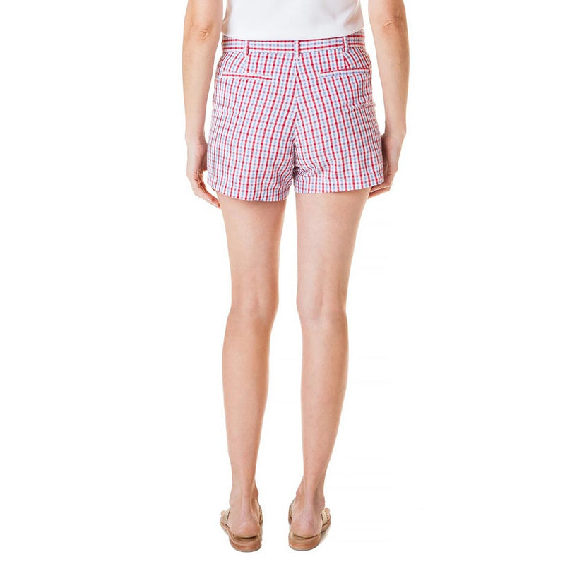 Sailing Short in Red, White & Blue Seersucker Check by Castaway Clothing