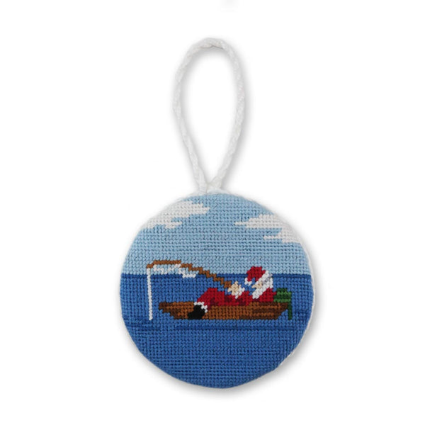Fishing Santa Needlepoint Ornament by Smathers & Branson