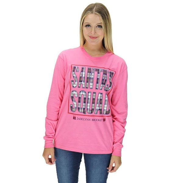 Santa's Squad Long Sleeve Tee in Pink Heather by Jadelynn Brooke  - 1