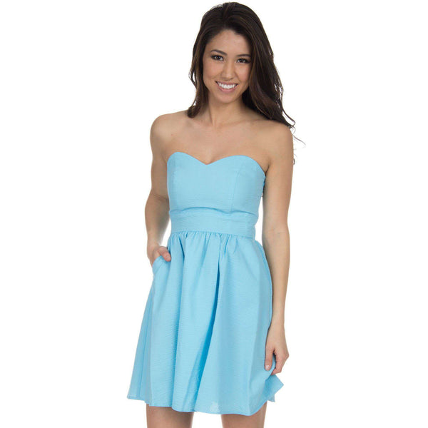 The Savannah Solid Seersucker Dress in Powder Blue by Lauren James  - 1