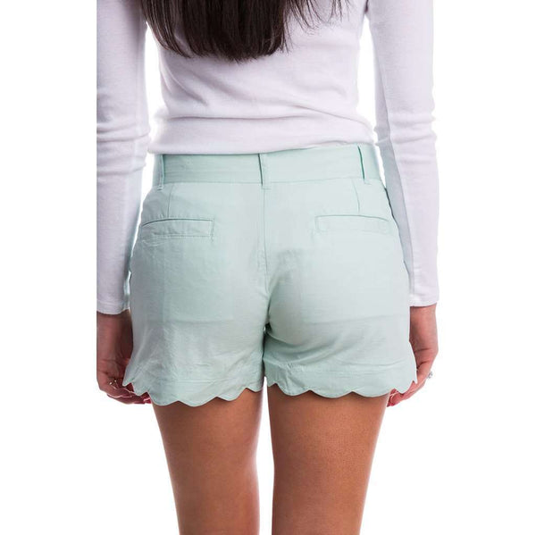 Scalloped Hem Poplin Short in Mint by Lauren James
