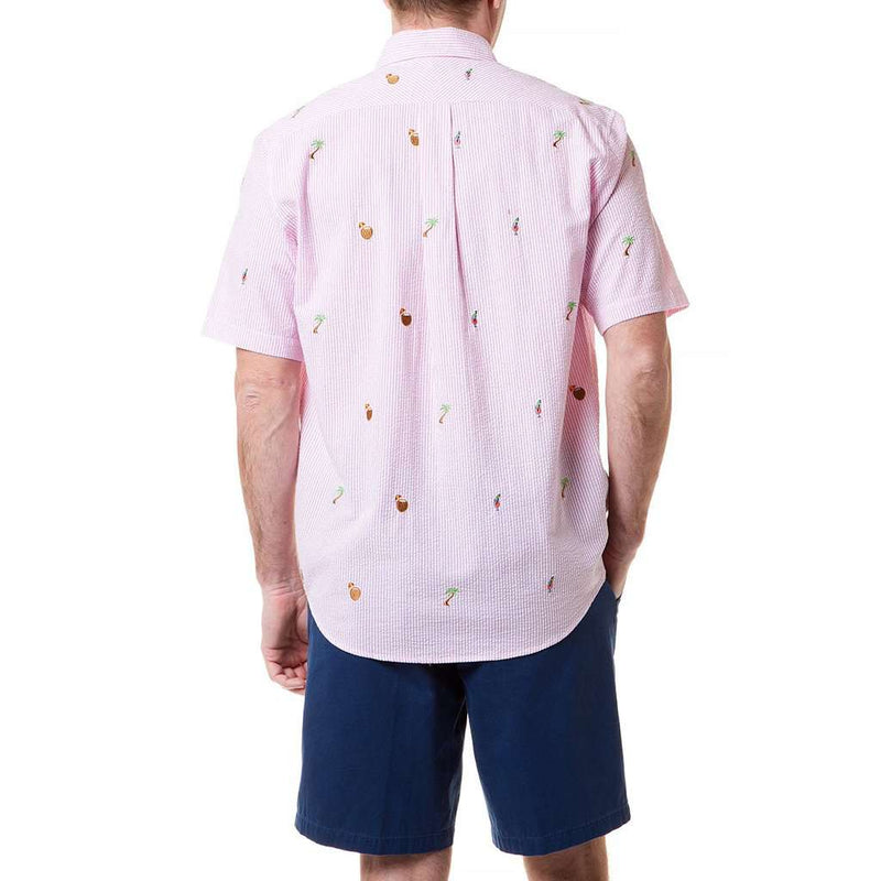 Castaway Clothing Straight Wharf Short Sleeve Shirt with Embroidered Island Time by Castaway Clothing