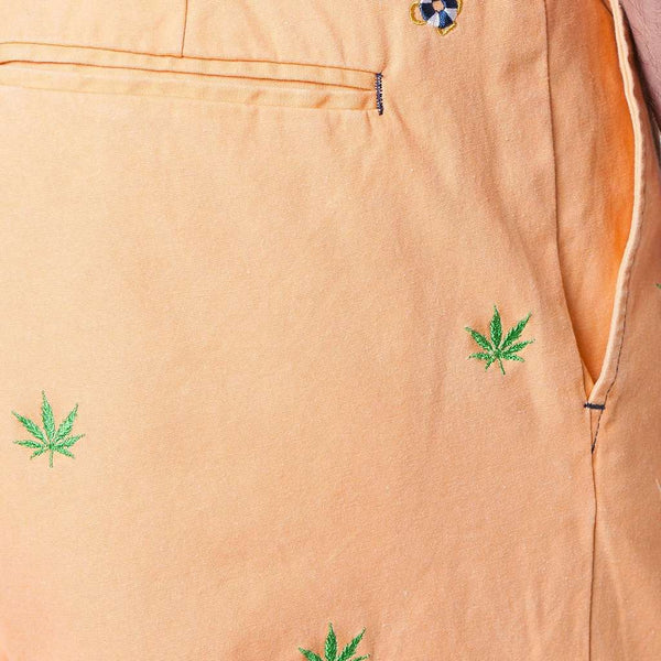 Island Canvas Short with Embroidered Pot Leaf by Castaway Clothing