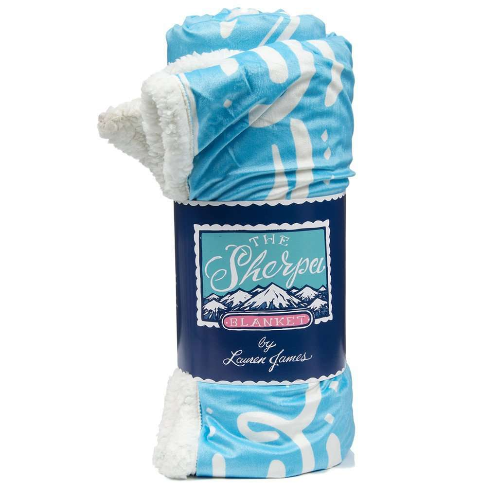 Sherpa Logo Blanket in Light Blue by Lauren James  - 1