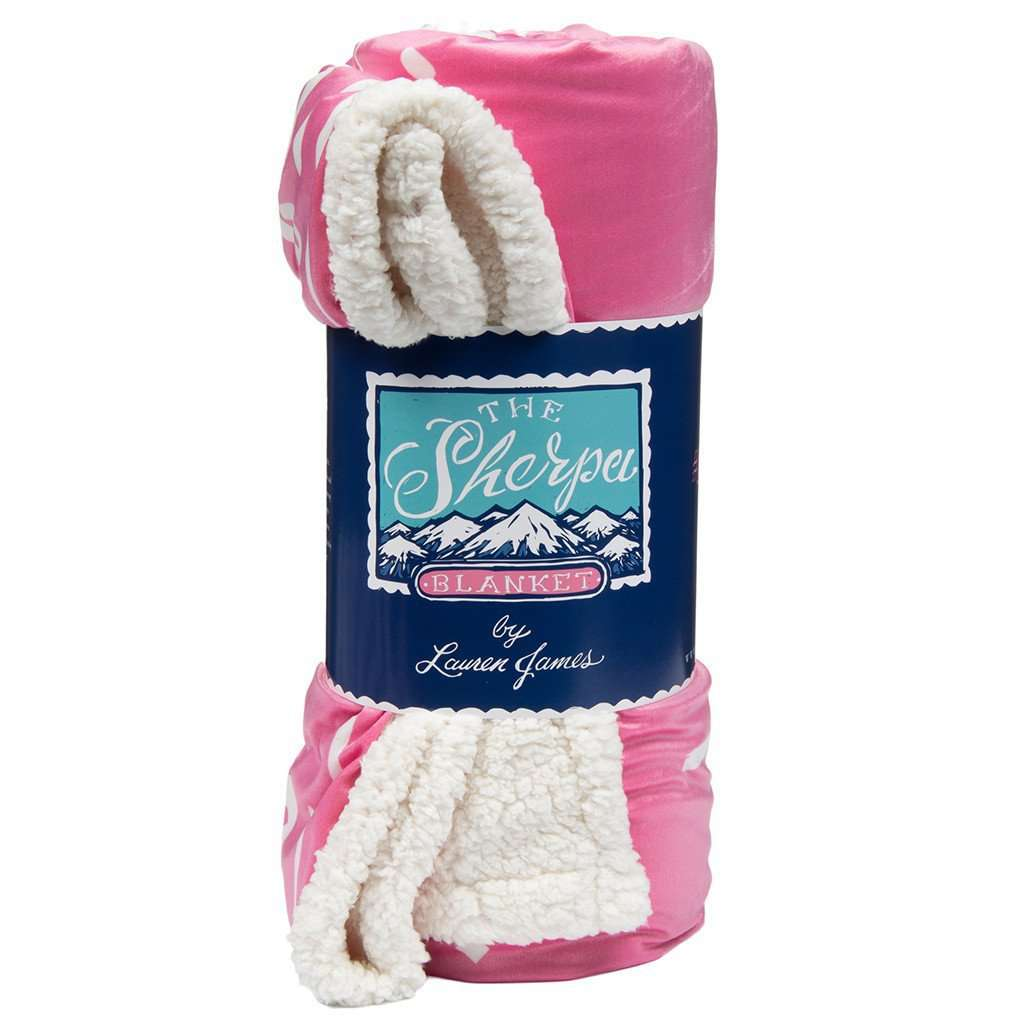 Sherpa Logo Blanket in Pink by Lauren James  - 1