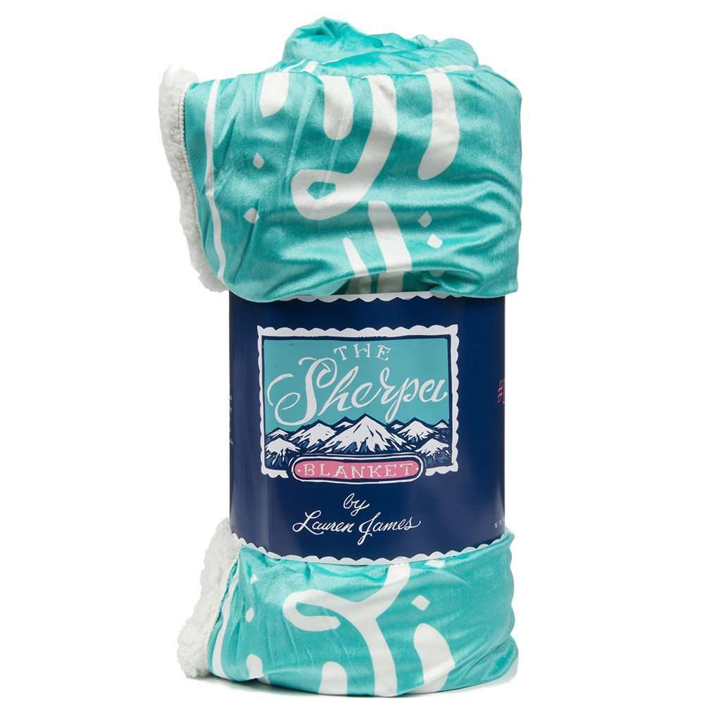 Sherpa Logo Blanket in Seafoam by Lauren James  - 1
