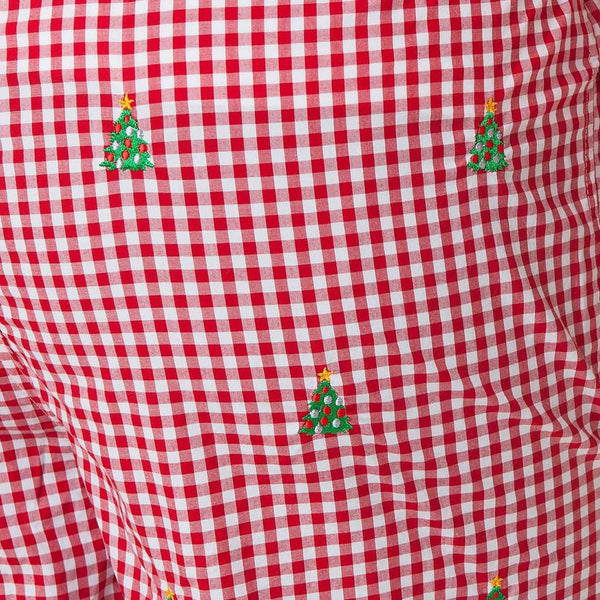 Castaway Clothing Gingham Sleeper Pant with Embroidered Christmas Tree by Castaway Clothing