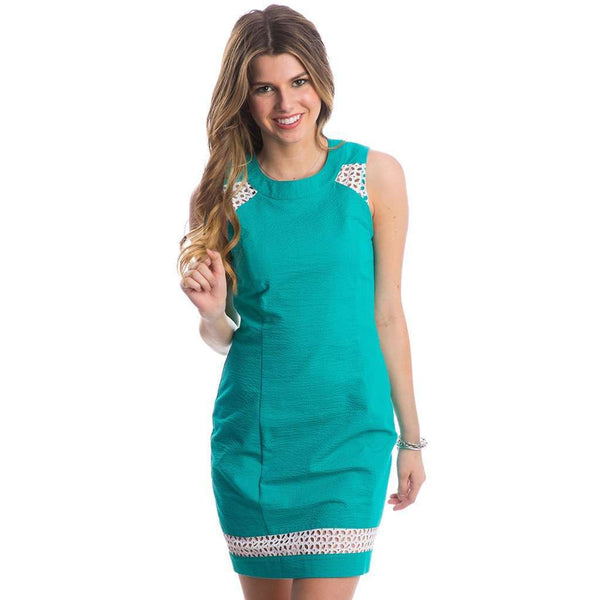 Sloane Solid Seersucker Dress in Lagoon by Lauren James
