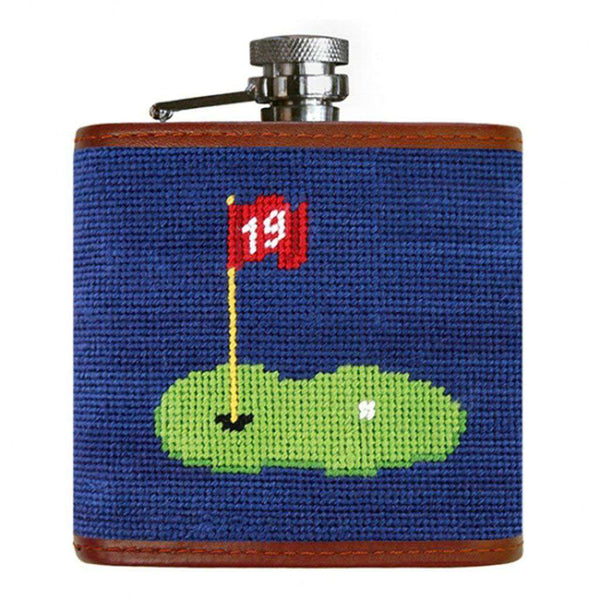 19th Hole Needlepoint Flask in Classic Navy by Smathers & Branson