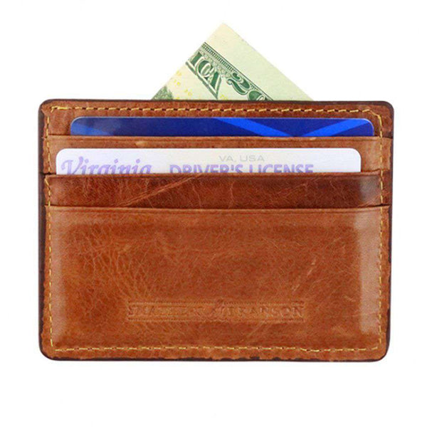 Smathers & Branson Blue Seersucker Needlepoint Credit Card Wallet