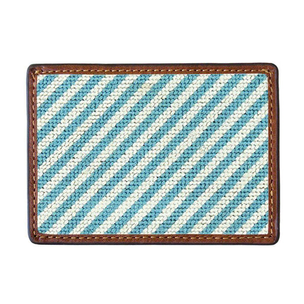 Blue Seersucker Needlepoint Credit Card Wallet by Smathers & Branson