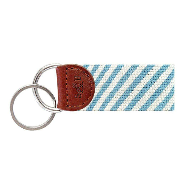 Smathers and Branson Blue Seersucker Needlepoint Key Fob by Smathers & Branson