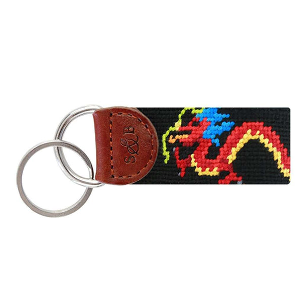 Dragon Needlepoint Key Fob in Black by Smathers & Branson