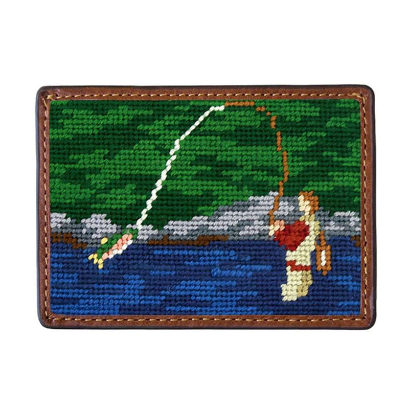 Fly Fishing Scene Needlepoint Credit Card Wallet by Smathers & Branson