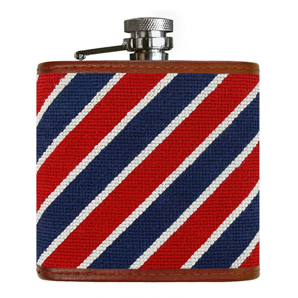 Patriotic Stripe Needlepoint Flask by Smathers & Branson