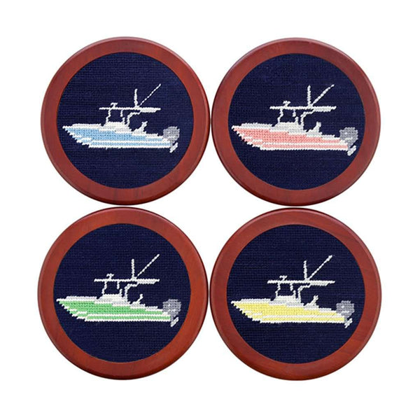 Power Boat Needlepoint Coasters in Dark Navy by Smathers & Branson