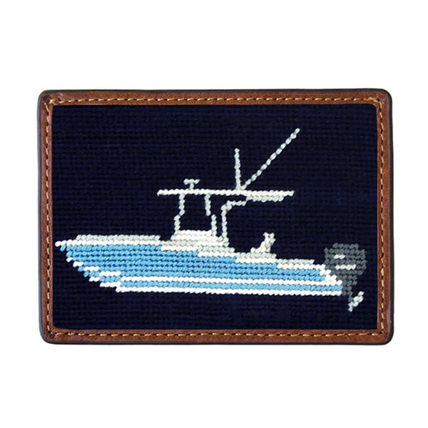 Power Boat Needlepoint Credit Card Wallet in Dark Navy by Smathers & Branson