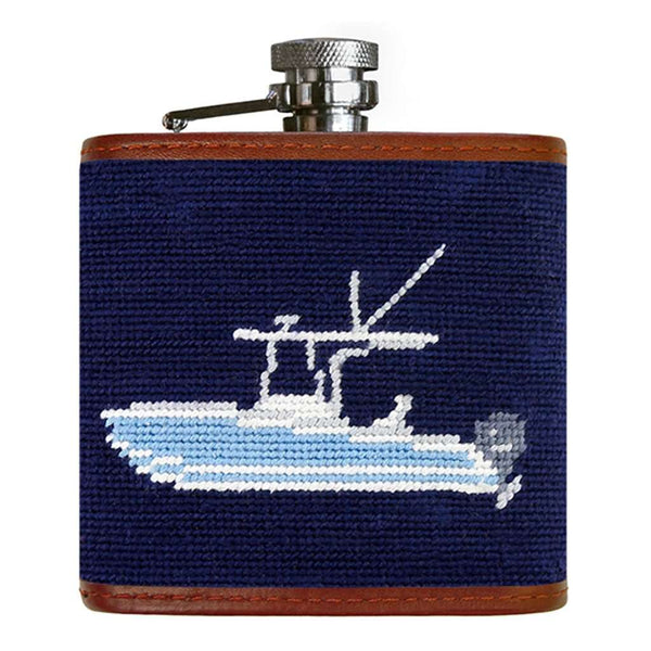 Power Boat Needlepoint Flask in Dark Navy by Smathers & Branson