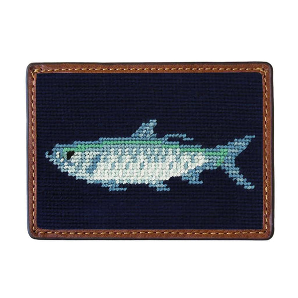Tarpon Needlepoint Credit Card Wallet in Dark Navy by Smathers & Branson