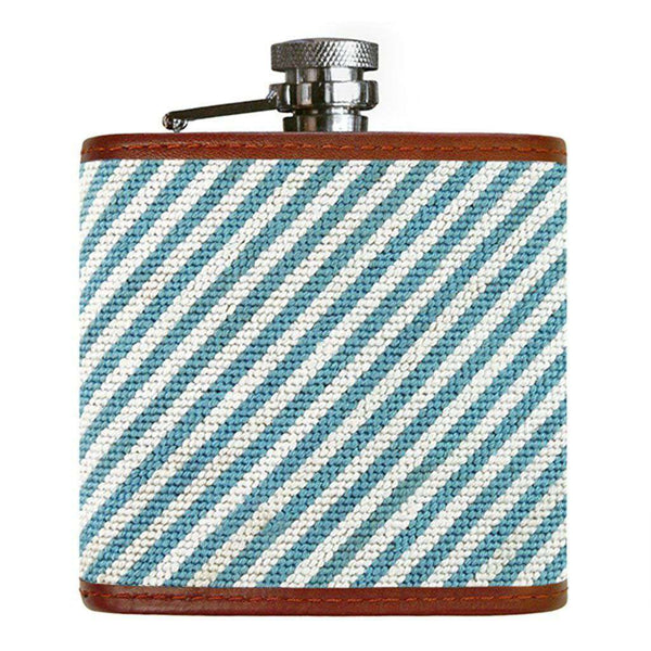 Blue Seersucker Needlepoint Flask by Smathers & Branson