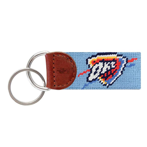 Smathers and Branson Oklahoma  City Thunder Needlepoint Key Fob in Light Blue by Smathers & Branson
