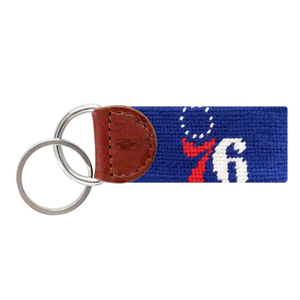Philadelphia 76ers Needlepoint Key Fob in Dark Royal Blue by Smathers & Branson