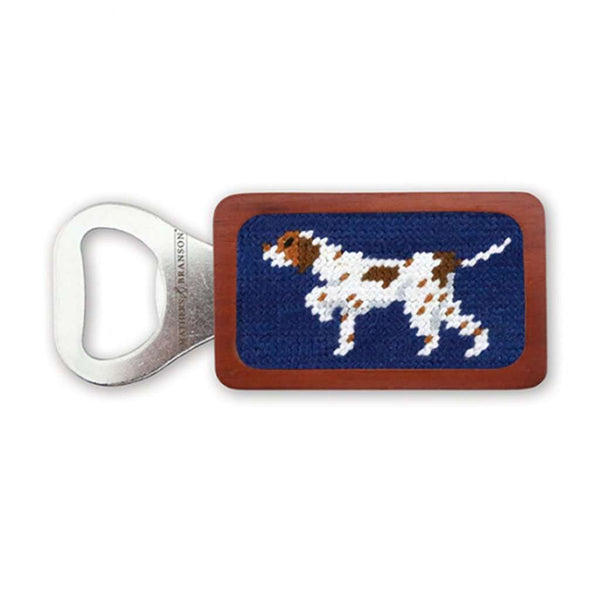 Smathers & Branson Pointer Needlepoint Bottle Opener in Classic Navy
