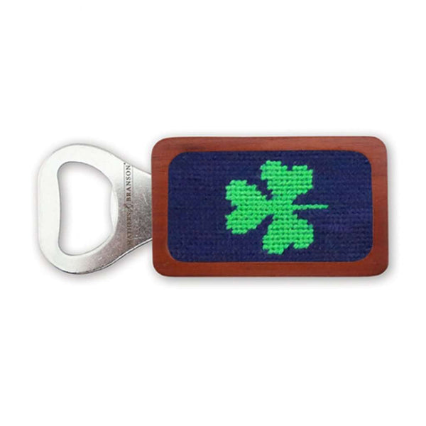 Shamrock Needlepoint Bottle Opener in Dark Navy by Smathers & Branson