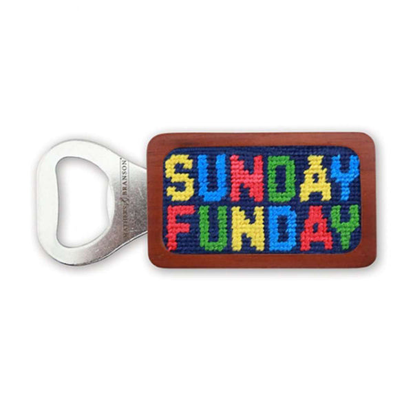 Sunday Funday Needlepoint Bottle Opener in Classic Navy by Smathers & Branson