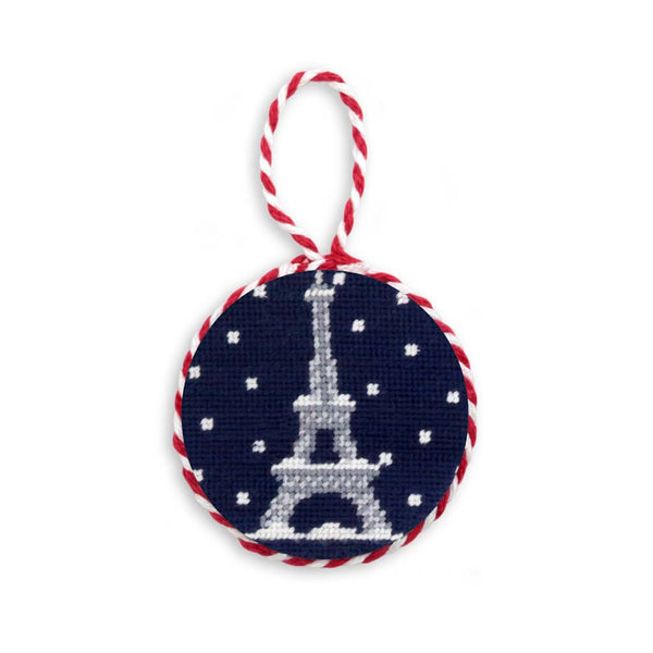 Snowy Eiffel Tower Needlepoint Ornament by Smathers & Branson